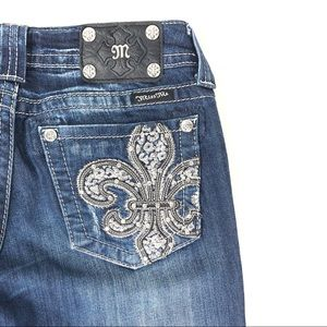 Miss me Jeans embellished embroidered studded boot